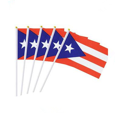 factory supplier polyester international festival puerto rico hand waving flag
