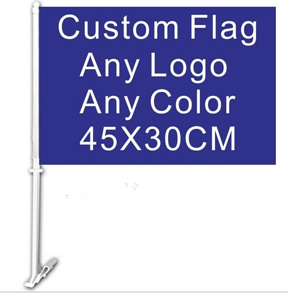 Strong Factory Directly Printing Custom Car Window Flag With Plastic Pole